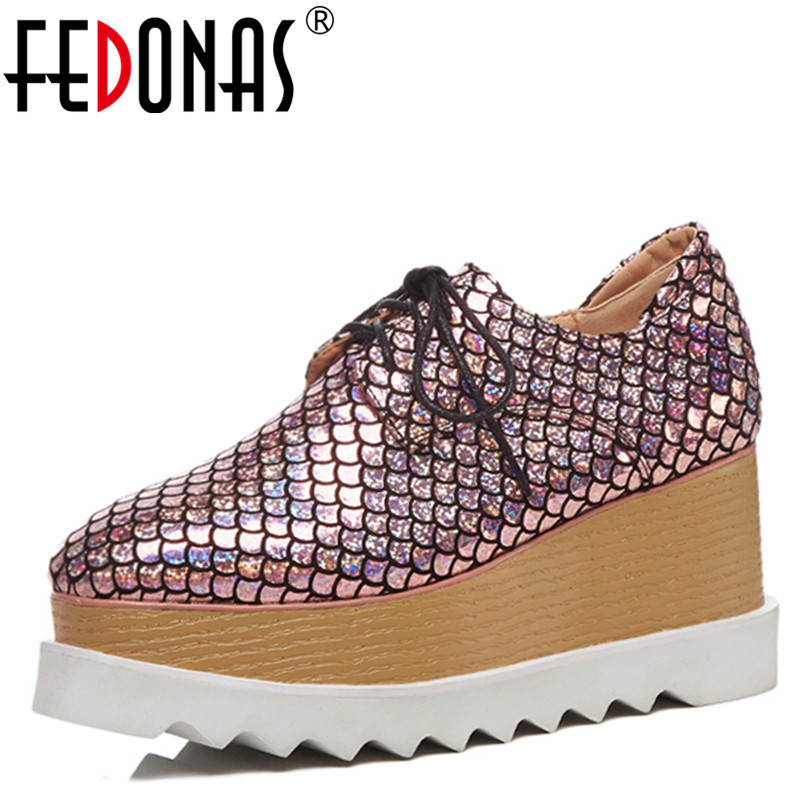 FEDONAS Sexy Women Top Quality Autumn New Shoes Woman Ladies Flats Platform Rome Lace Up Round Toe Comfort Casual Shoes Flats rome top 10