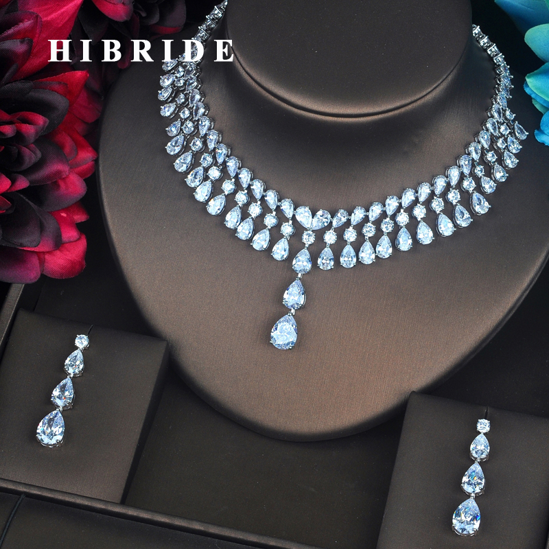 HIBRIDE Classic Shinny Water Drop Jewelry Sets For Women Bride Necklace Set Wedding Jewelry Dress Accessories