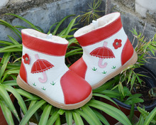 Girls boots genuine leather plush lining umbrella flowers on grass fun shoes red pink green color 2015 winter new collection