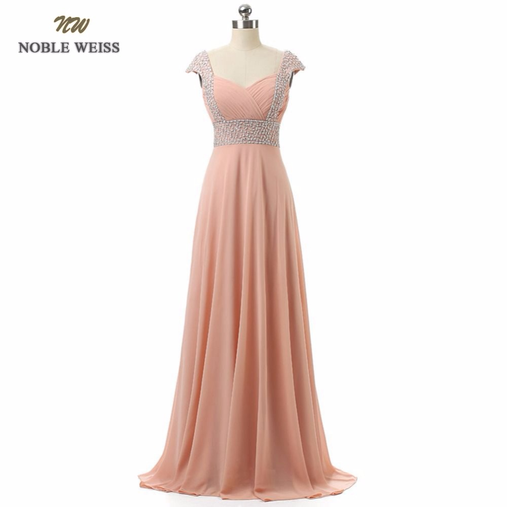 NOBLE WEISS In Stock Chiffon Cap Sleeves with Sequins and Beads Lace up Back Junior   Bridesmaid     Dresses