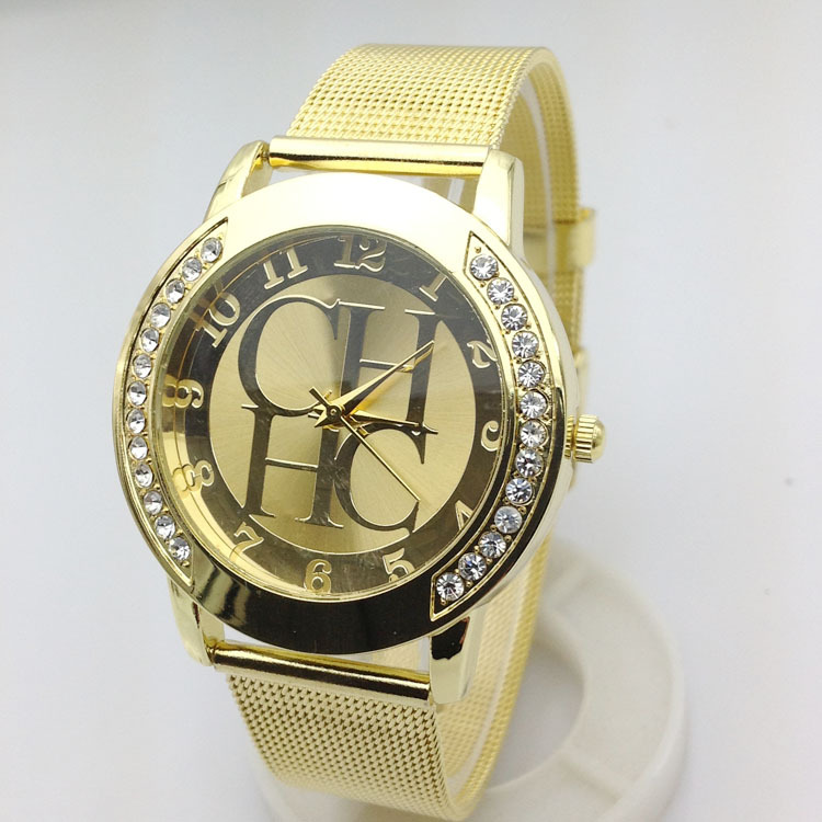 2015 New Brand Gold Geneva Crystal Casual Quartz Watch Women Metal Mesh Stainless Steel Dress Watches