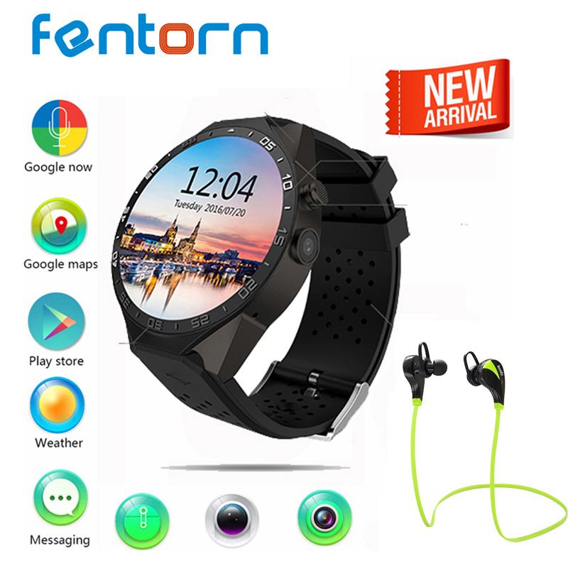 Prix pour Fentorn KW88 Smart Watch Android 5.1 OS Avec 2.0 mega Pixel Caméra 1.39 pouce Amoled Écran Rond 512 MB + 4 GB 3G WCDMA/WIFI