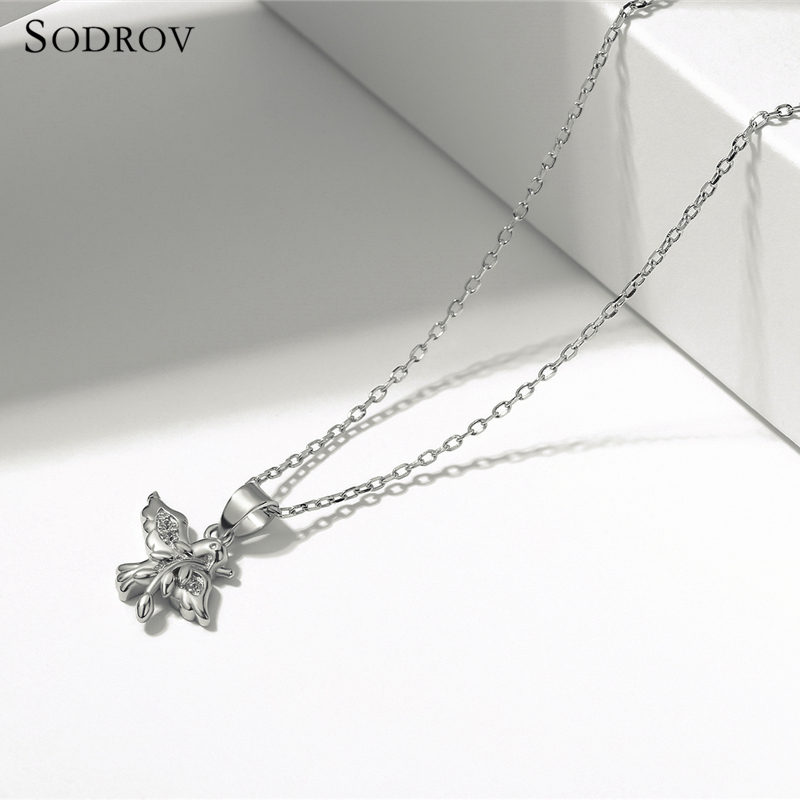 Authentic 925 sterling silver spring bird and animal charm necklace ladies silver jewelry gift joyas de plata 925 N014 in Necklaces from Jewelry Accessories