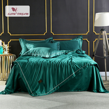 SlowDream  Luxury Bedding Set 100% Silk Bedspread Double Queen King Duvet Cover Bed Flat Sheet Decor Home Textiles Linens Euro [available with 10 11] linens euro love dream