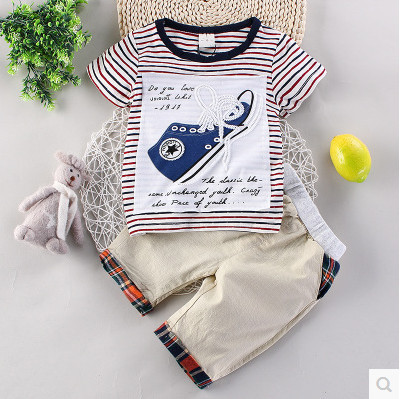 Kids boys short-sleeved suit 2017 new summer children's cotton casual T-shirt shorts smal boys clothes1-4 years