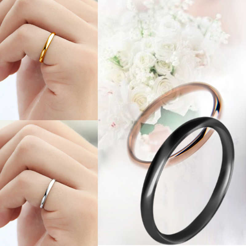 1PC Hot Couples Rings Wedding Solid Unisex Titanium Steel   Smooth  Women Men Alloy Anniversary Allergy Free Jwelry Gift