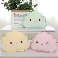 Cotton Stuffed Shell Pillow Baby Soothing Sleeping Pillow Cute Pink Yellow Soft Cloud Shaped Cushion Plush Toy for Children
