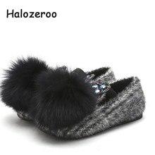 e4edf2b0 Halozeroo nuevo bebé de invierno de piel de negro zapatos de los niños de  moda cálida pisos chico marca strass holgazán suave co.
