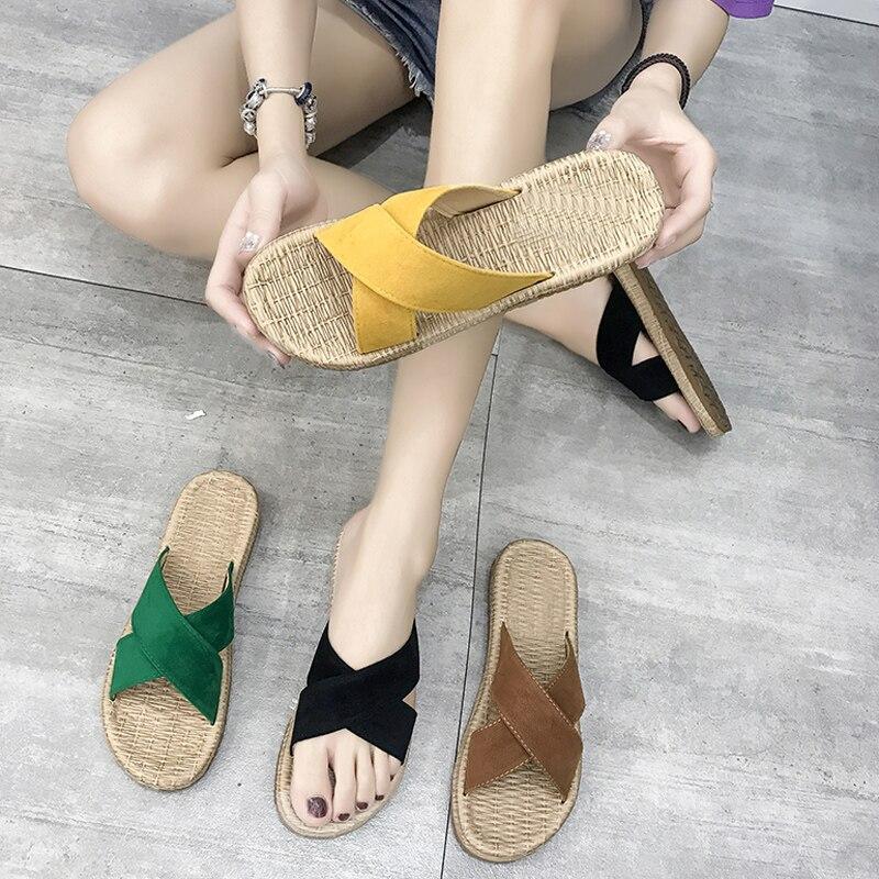 a80e333d9 HEE GRAND/тапочки женская летняя обувь Sildes слипоны Повседневное плоские  сандалии на мягкой подошве женские