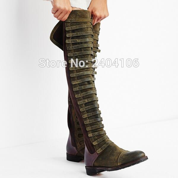 Patchwork Retro Shoes Winter Botas Mujer Flat Riding Military Boot Army Green Black Long Booties Vintage Knee High Boots Women flashlight nitecore ec20 cree xm l2 u2 led max 960 lumen beam distance 222 meter torch 18650 3500mah battery new i2 charger