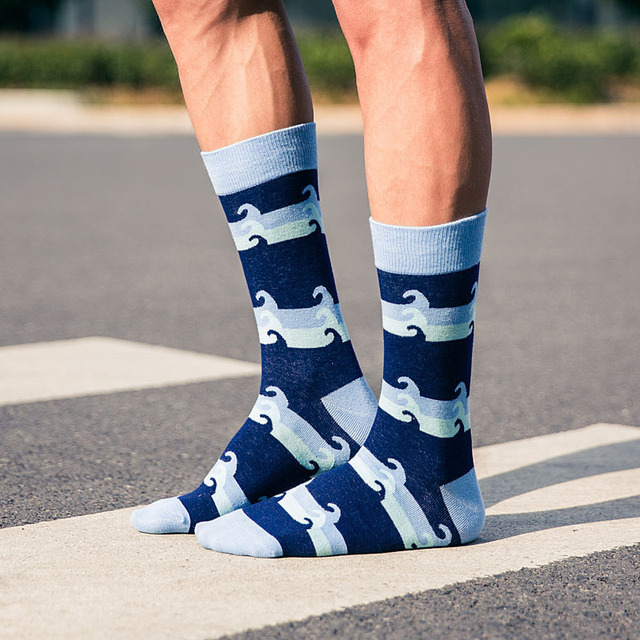 PEONFLY Colorful Men's Combed Cotton Happy socks Funny Pattern Novelty Casual Dress Crew Wedding Socks Newest design