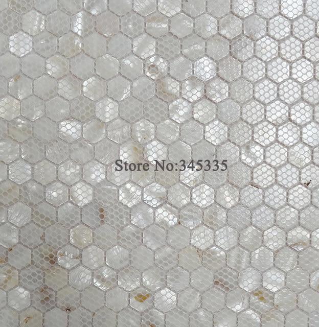 Online-Shop 11 STÜCKE Weiß hexagon shell mosaik-fliesen perlmutt ... | {Dusche 45}