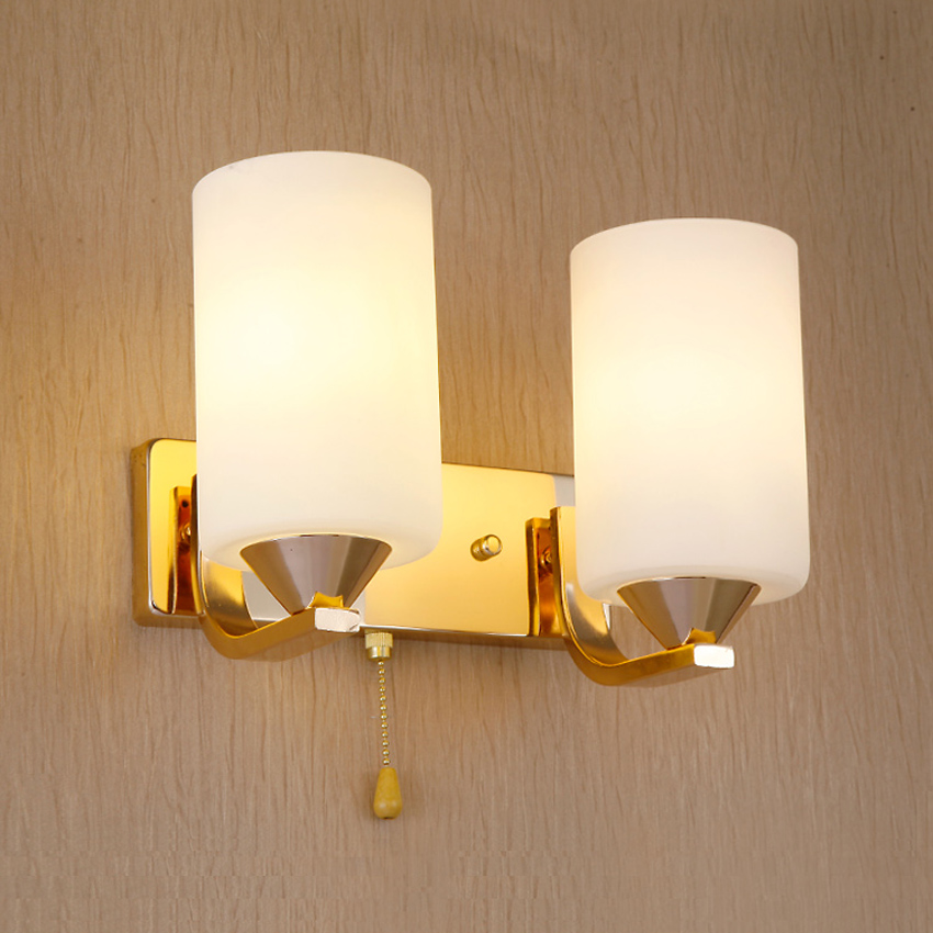 gold color iron glass lampshade led wall sconce for aisle bathroom