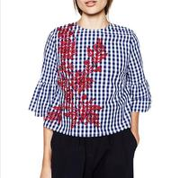 Women floral embroidery plaid blouse full cotton three quarter flare sleeve loose shirts fashion streetwear tops blusas