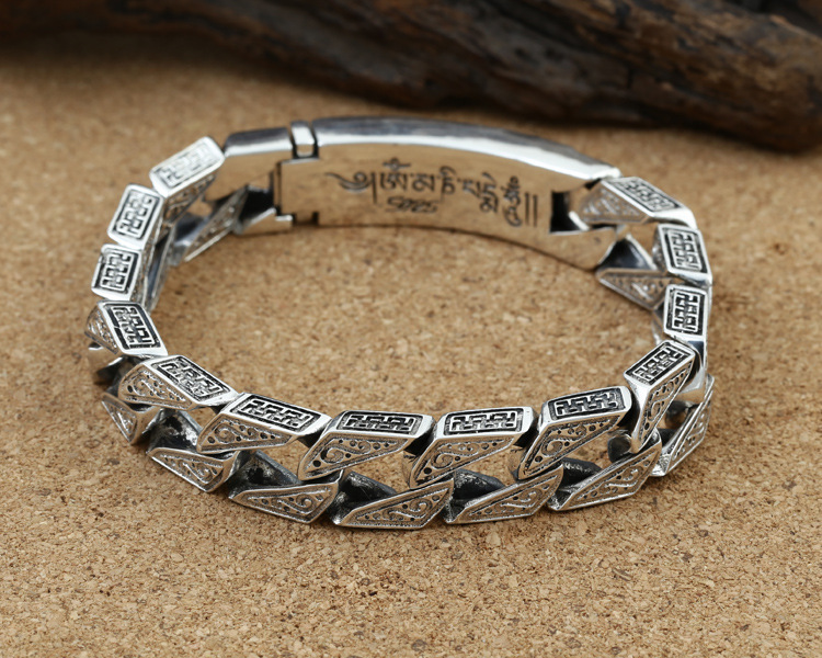 Pure 925 sterling silver men's bracelet retro punk rock hand woven personality bracelet Thai silver fashion jewelry best gift - 2