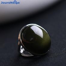 Doğal obsidyen yüzük yeşil kedi gözü taş S925 ayar gümüş mozaik yüzük basit erkekler kadınlar hediye kristal yüzük takı toptan