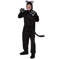 Zima Halloween Dorosłych Czarny Kot Kostium Dla Mężczyzn Man's Adultos Przytulanki Zwierząt Odzież Disfraces Cosplay Kostiumy Dołączone