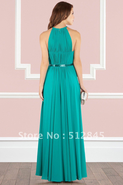YD 12061183 Vest Neck Jade Colored Maxi Long Bridesmaid Dress-in ...