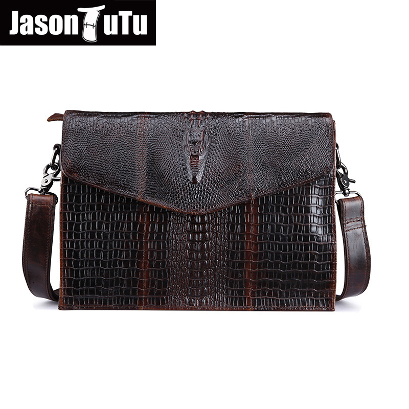 JASON TUTU Crocodile Genuine Leather Men Messenger Bag brand Business Laptop bag Shoulder Bag Vintage men messenger bags HN96