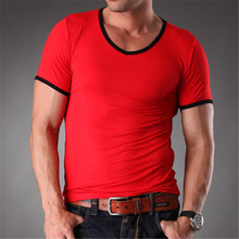 Men's Summer V-Neck Bamboo Fiber Tops