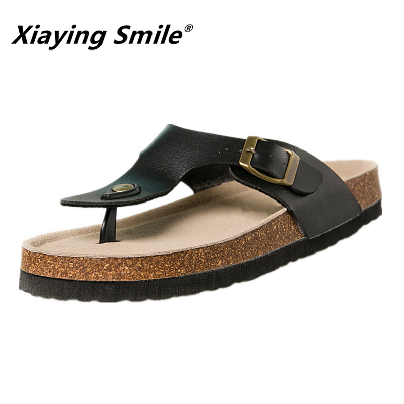 Xiaying Smile Hot Sale Sandal Slippers Summer Outside Single Buckle Casual Flip Flops Beach Fashion Genuine Leather Flat Slipper