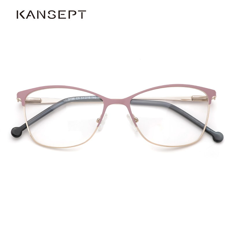 Metal Women Glasses Frames Optical Prescription Glasses Frame Clear Lens Eyewear Pink Eyeglasses Frame 2019 New Design