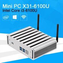 XCY мини-ПК Core i3 6100U HD Graphics 520 2.30 ГГц двухъядерный игр PC HTPC 4 К HDMI TV DDR4 300 м Wi-Fi Windows 10 без вентилятора