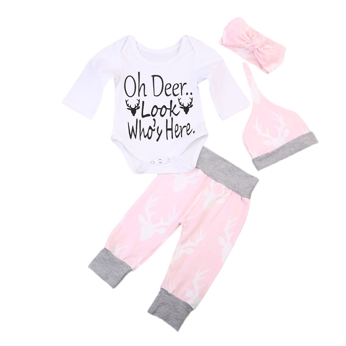 4Pcs Cute Newborn Baby Boy Girl Clothes Long Sleeve Romper+Long Pants+Headwear+Hat Casual Deer Printed Baby Sets