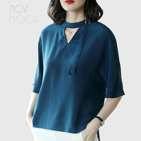 Office style ladies solid natural silk t shirt summer tops plus size 1/2 batwing sleeve chocker collar design camisa ropa LT2262