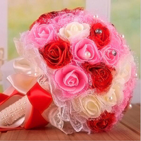 Pink red purple Bride Bridesmaid Rose Artificial Hands Holding Wedding Flowers 15*23*12cm Bridal Bouquets for Party Decor DA