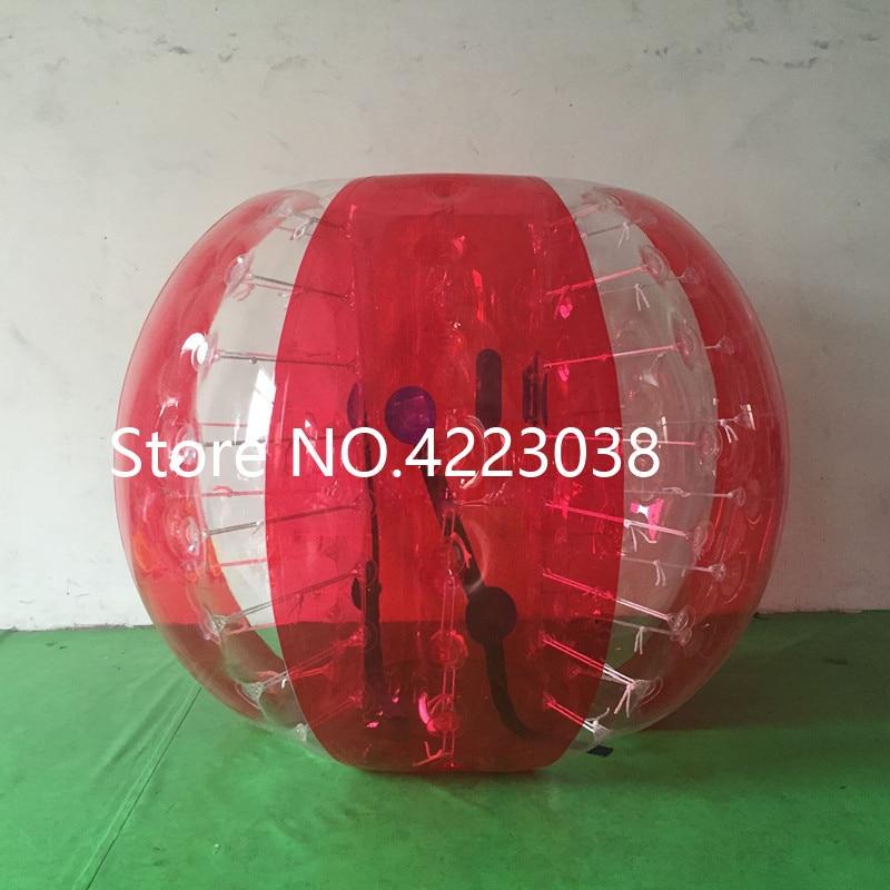 1,5 м надувной футбольный мяч в виде пузыря бампер шар-Зорб пузырь футбол человеческий батут Bubbleball Zorb мяч - Цвет: half red and clear
