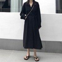 2019 Spring Korean Elegant Women Dress Loose French Retro Dress Gentle Chic Long Sleeve Chiffon Dress Woman