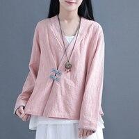 2019 summer cheongsam cotton linen vintage oblique buttons qipao shirt women short sleeves blouse chinese traditional top
