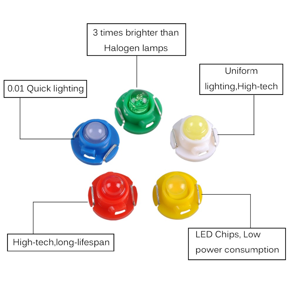 Autoec 10x T3 T42 T47 Cob Dashboard Warning Indicator Light Bulbs Warn Halogen Wiring Diagram 12v La15 In Signal Lamp From Automobiles Motorcycles On