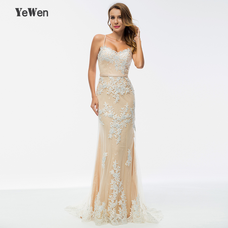 Yewen Beaded Champagne Long   Evening     Dresses   2019 Party Mermaid Lace Prom Formal   Dress   Women Elegant Gown