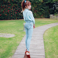 Princess sweet lolita overalls BoBON21 Original design love lace  heart pocket stretch straps pencil jeans blue trousers B1273