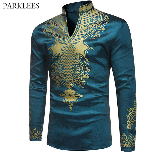 4d211a6ce Stand Collar African Print Dashiki T-shirt Men Slim Fit Long Sleeve T  Shirts Mens Casual V Neck Hip Hop Gypsy Ethnic Tshirt Male