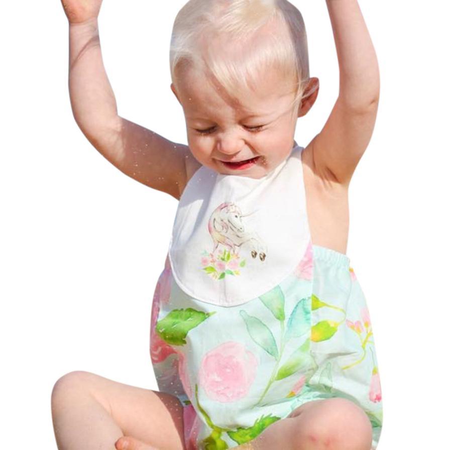 2017 Летний Новый Симпатичные для маленьких девочек мальчиков clothesnewborn для малышей для маленьких девочек цветочные спинки комбинезон Пляжный...