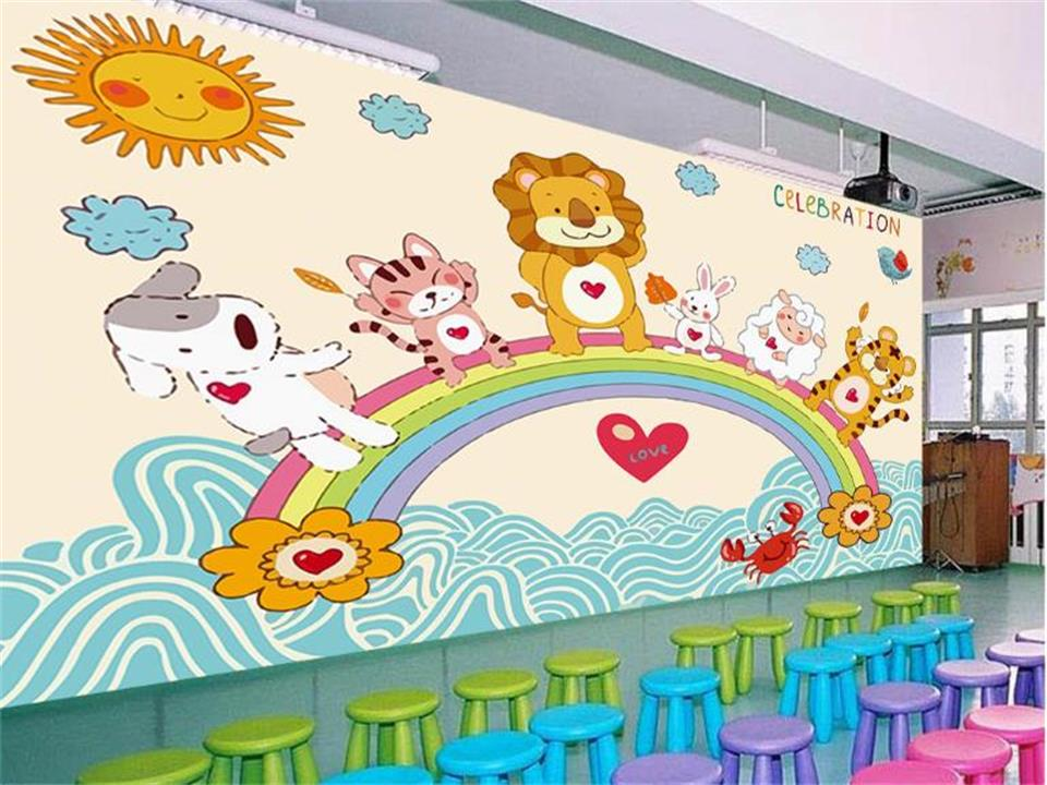 Custom 3d Photo Wallpaper Kids Mural Hand-painted Rainbow Zoo Photo Picture Mural Room Living Room Sofa TV Background Wall Paper