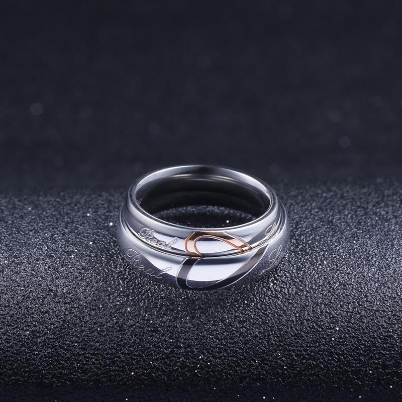 d81b2f6542c9 Mossovy de corazón de amor de pareja de titanio acero anillos de boda para  las mujeres joyería de moda accesorios de mujer anillo de plata para mujer  hombre ...