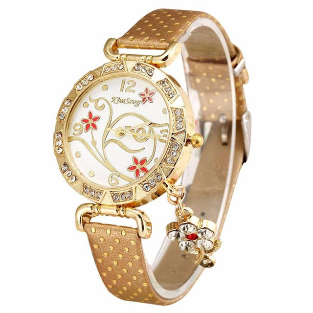 2018 New Arrival Women Watch Vintage Retro Bracelet Watches Women Flower Rhinest