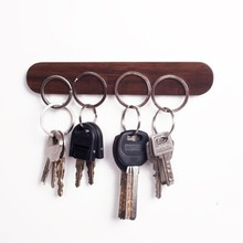 Creative design solid wood key holder wall hanging magnetic hook multi-function magnet suction