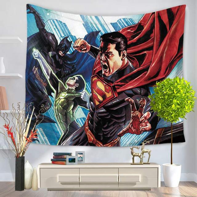 Cartoon Characters Superman Home Decor Tapestry Wall Hanging Beach Picnic Throw Rug Blanket Camping Tent Travel