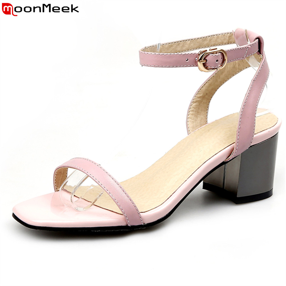 MoonMeek 2018 summer casual shoes peep toe extreme high heel with buckle square heels party shoes sexy women sandals kzni genuine leather purse crossbody shoulder women bag clutch female handbags sac a main femme de marque l110622