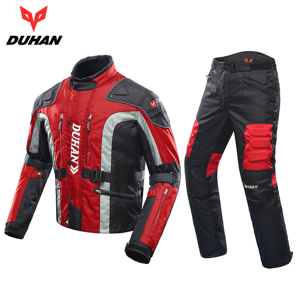DUHAN Men Motorcycle Jacket +Protector Motorcycle Pants Windproof Clothing With Cotton Liner MX/Off-Road/Dirt Bike Racing Jacket scoyco professional motorcycle dirt bike mtb dh mx riding trousers motocross off road racing hip pads pants breathable clothing
