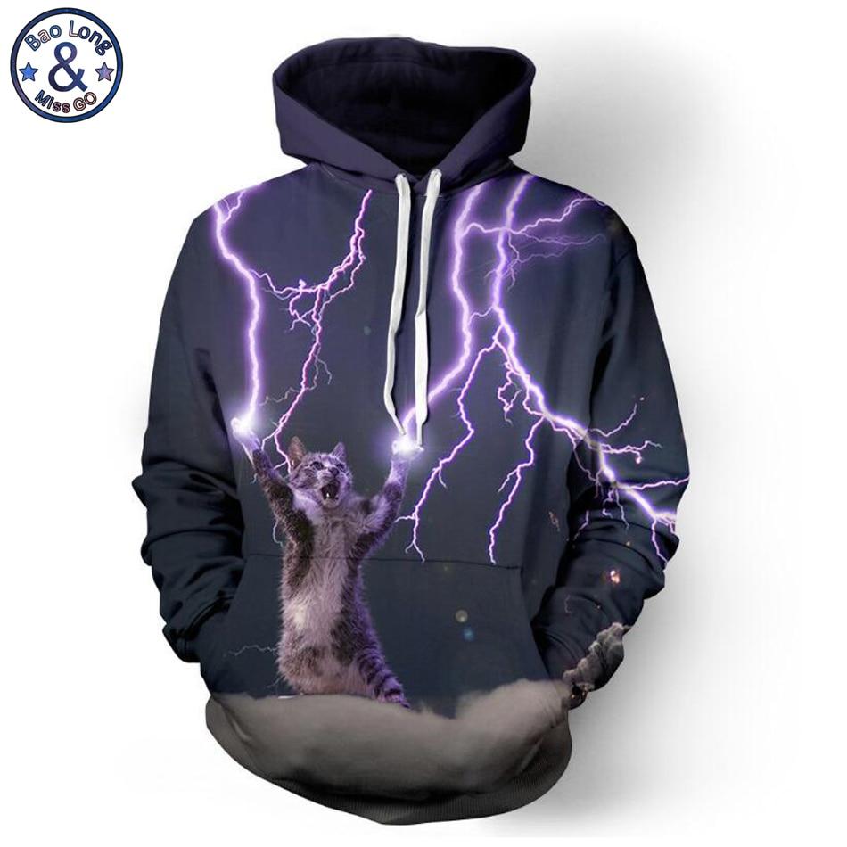 Mr.BaoLong brand new funny Lightning cat 3D printed hooded s
