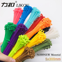 LIKOU Self-locking Nylon Cable Ties 5x300mm width3.6mm 100pcs/bag  12 colour Plastic Zip Tie wire tie