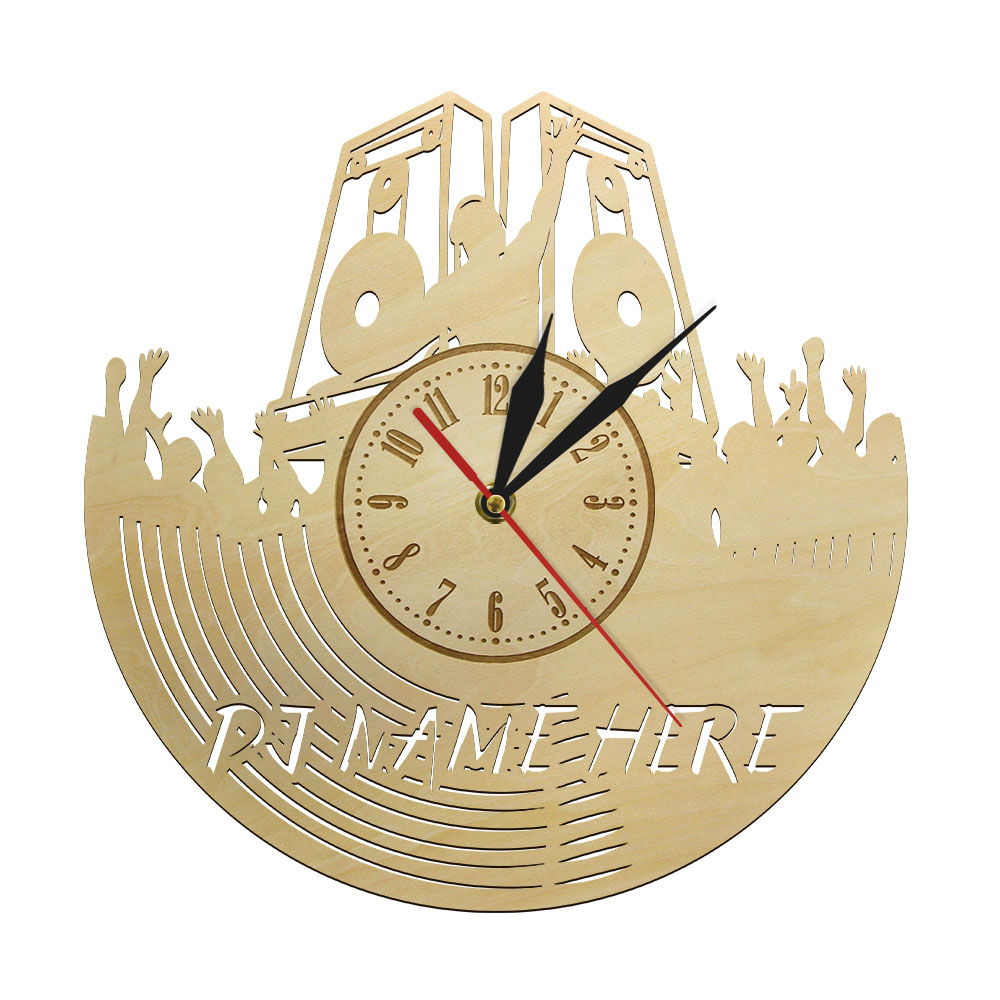 Personalized Custom Dj Wooden Wall Clock Disco Party Decorations Silent Hanging Watch For Music Lover Dj Friend Gift