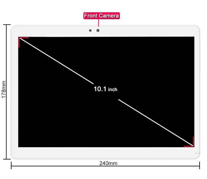 DHL شحن 10 بوصة اللوحي الروبوت 7.0 الثماني النواة 4 جيجابايت RAM 64 جيجابايت ROM 8 النوى كاميرا مزدوجة 5.0 MP 1280x800 IPS منتصف أقراص 10.1