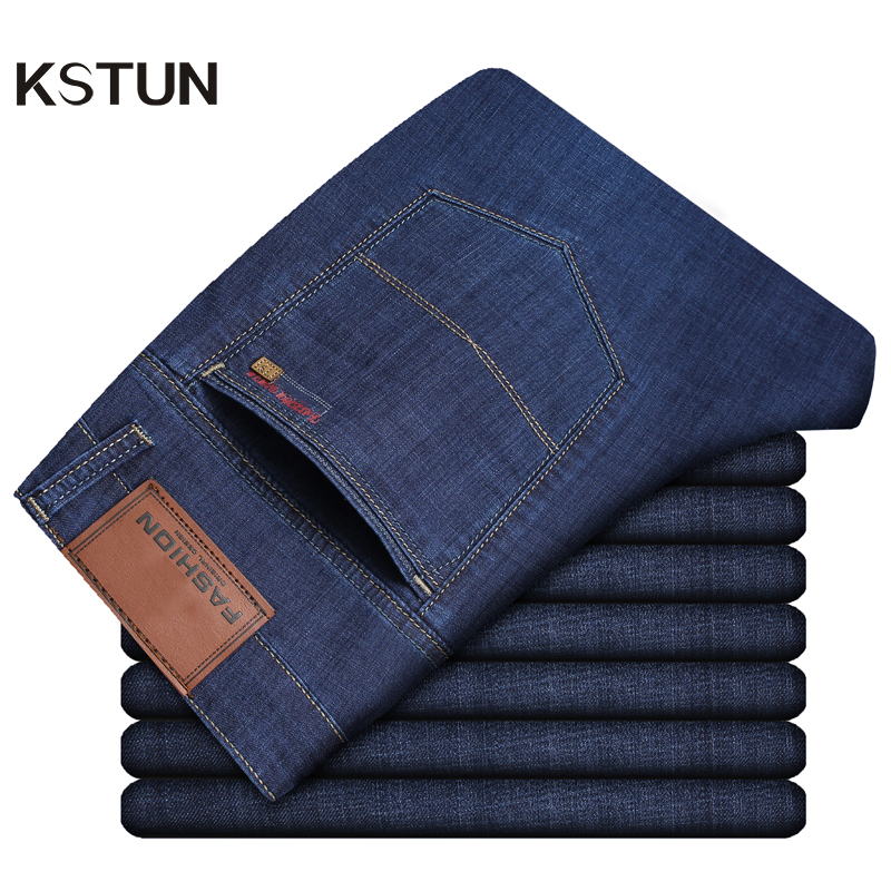 KSTUN Jeans Men Summer 2019 Blue Classic Straight Stretchy Business Casual Ultrathin Soft Breathabel Men's Clothing Jeans Homme